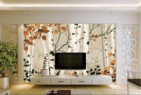 3d behang custom muurschildering non-woven muurstickers achtergrond behang handgeschilderde berk bomen foto behang voor muren 3d(China (Mainland))