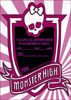 12 Printed Monster High Party Invitations | Invitations | Pinterest | Monster  High Party, Monster High And Party Invitations