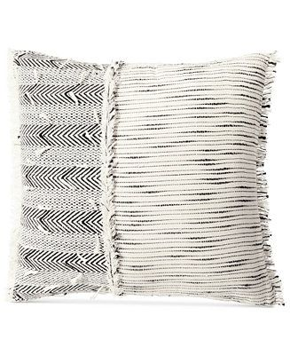 Lucky Brand Woven Textured 16 Square Decorative Pillow Bed Bath