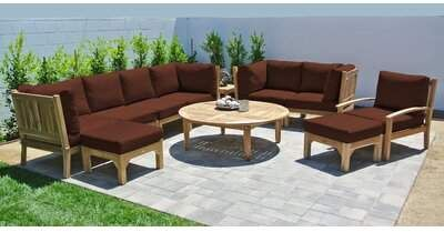 Crescio 11 Piece Teak Sectional Seating Group With Sunbrella Cushions Foundry Select Cushion Color Wheat Sponsore Deep Seating Outdoor Furniture Sets Seating