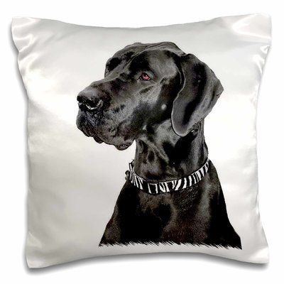 East Urban Home Great Dane Pillow Cover Black Great Danes Great Dane Funny Great Dane Puppy