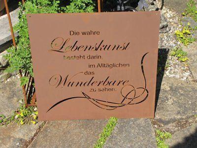 Edelrost Sternzeichen Gedichttafel Löwe Wandtafel Metallschild Gartenschild