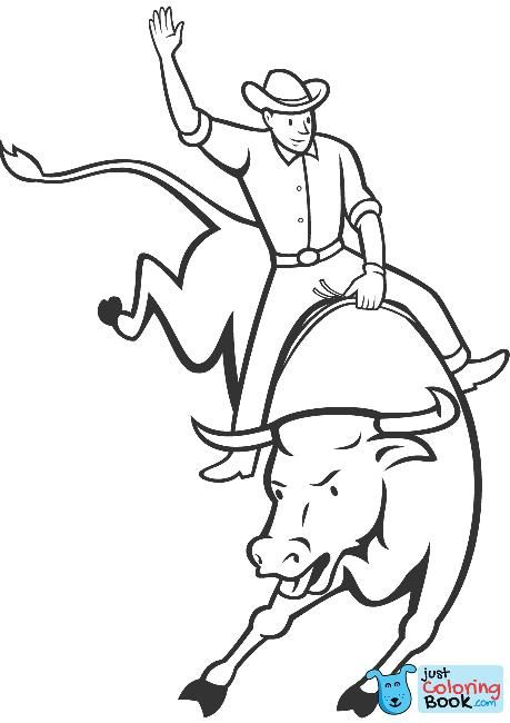 Rodeo Bull Riding Coloring Page Free Printable Coloring Pages Within Best Printable Rodeo Bull Coloring Coloring Pages Bear Coloring Pages Cars Coloring Pages