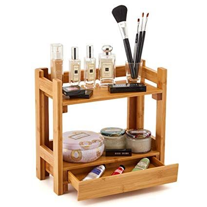 Ezoware Cosmetic Organizer 2 Tier Multifunction Bamboo Make Up