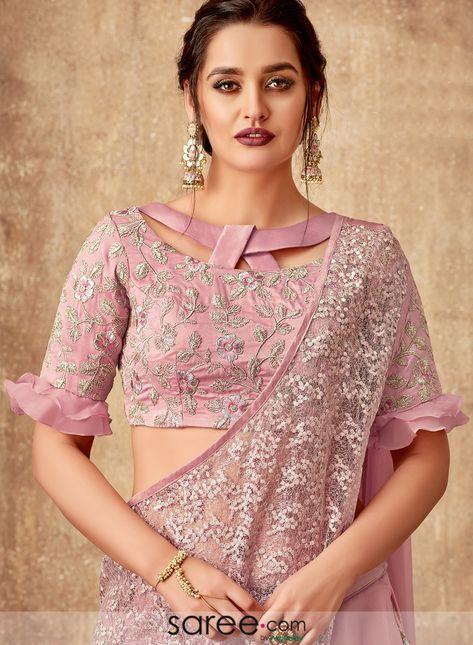 Pink tissue fancy layered lehenga saree with designer blouse