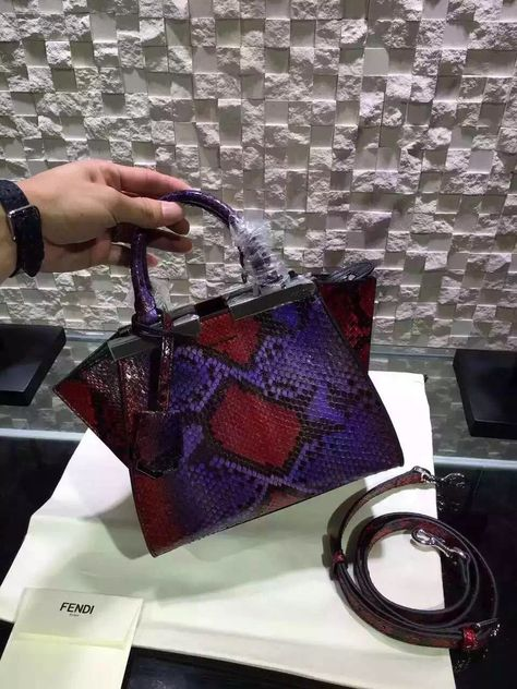 0fdf0e56dd Fendi Mini 3 Jours Shopping Bag In Multicolor Python Leather (3 ...
