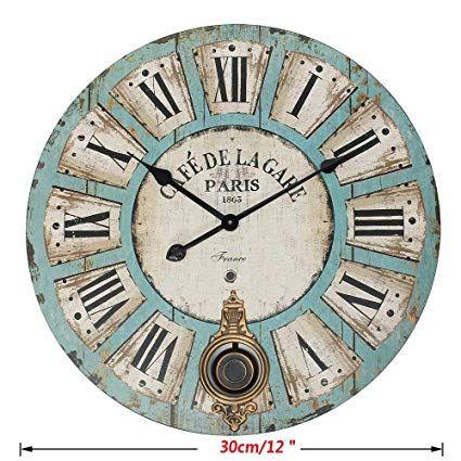 Amazon Com Mmj 12 Ornaments Wall Clock Retro Antique Quartz