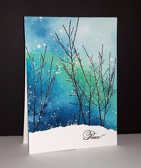 Into the sky de Penny Black par Micheline 'Mimi' JourdainYou can find Penny black and more on our website.Into the sky de Penny Black par Micheline 'Mimi' J. Watercolor Christmas Cards, Diy Christmas Cards, Watercolor Cards, Watercolor Background, Xmas Cards, Christmas Art, Watercolor Paintings, Simple Watercolor, Watercolor Trees