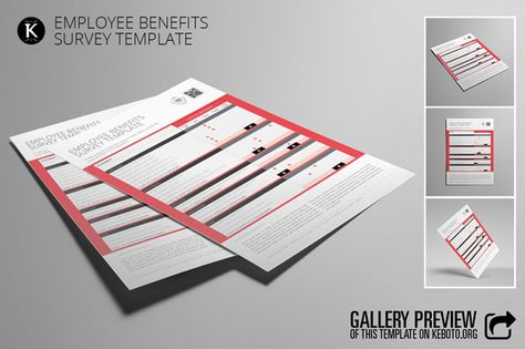 Employee Benefits Survey Template by Keboto on @creativemarket - employee survey template