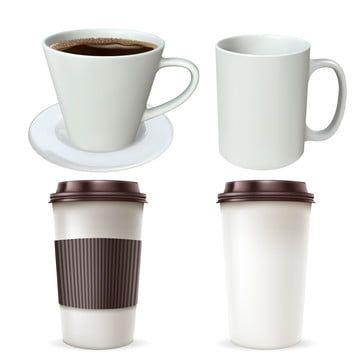 Nabor Bumazhnyh I Steklyannyh Chashek Kofe Realistichnye Vektornye Illyustracii Obekt Kruzhka Kruzhka Png I Vektor Png Dlya Besplatnoj Zagruzki In 2021 Coffee Cups Paper Coffee Cup Glass Cup