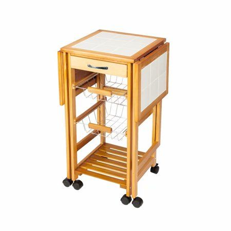 Clearance Portable Rolling Drop Leaf Kitchen Storage Trolley Cart Island Sapele Color Walmart Com In 2020 Kitchen Storage Trolley Portable Kitchen Island Leaf Storage