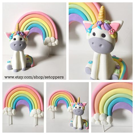 Unicorn cake topper, girly, pink and purple, cake decorating, rainbow cake topper, birthday, fondant toppers, unicorn art, handmade,