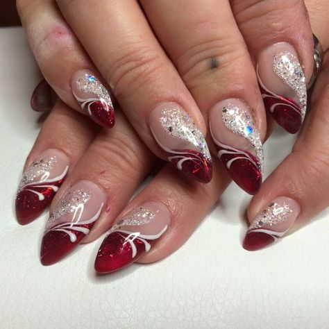 day nails with rhinestones