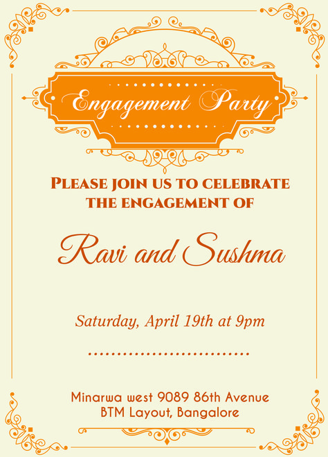 Indian Engagement invitation card with wordings Check it out - create engagement invitation card online free