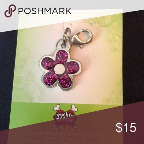 NWT Rockin Doggie pink glitter flower charms Brand new Rockin Doggie pink glitter flower charm - perfect for your pets' collar or your keys - sku 1283 Rockin Doggie Jewelry