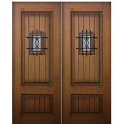 2 Panel Sq V Sp 2 Fiberglass Double Entry Doors Mahogany Doors Paneling
