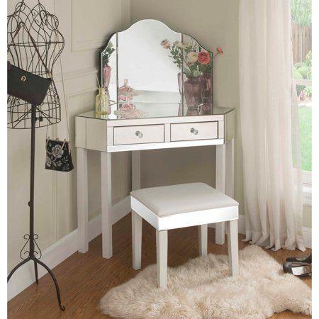 Daryl White Mirrored Corner Vanity Set 2 Drawers 2 Pieces Vanity With Stool Walmart Com White Vanity Table Corner Vanity Vanity Set