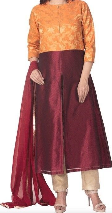 Woven Art Silk A Line Suit In Burgundy Orange By Utsav Fashions Size 46 Fashion Clothing Shoes Accessories Wom Utsav Fashion Fashion Traditional Outfits