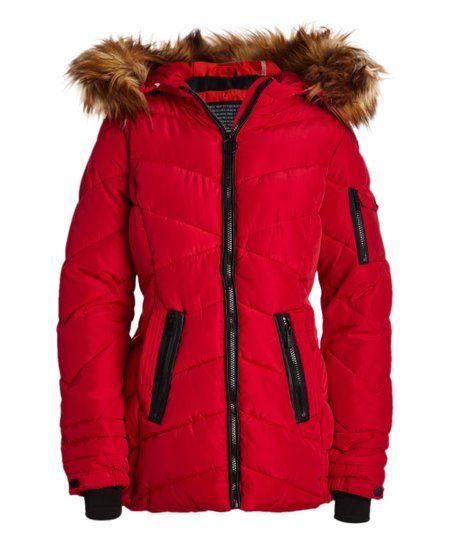 Steve Madden Red Natural Faux Fur Quilted Puffer Coat Women Plus Zulily Puffer Coat Coats For Women Puffer