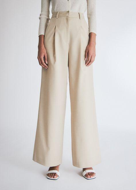 Kindersalmon Women's Wool Wide Leg Pants in Beige, Size Medium