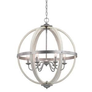 Progress Lighting Keowee 4 Light Galvanized Orb Chandelier With Antique White Wood Accents P400128 141 The Orb Chandelier Wood Chandelier Iron Chandeliers