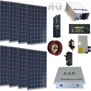 Complete 2120 Watt Solar System With 4400 Watt Magnum Inverter Lifepo4 Lithium Wall Mount Battery Copy Solar Panels Solar Kit Solar