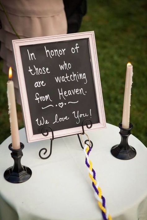 Unique Wedding Memorial Ideas: In Loving Memory #weddingideas Unique wedding memorial ideas. Just because your deceased loved ones can't be with you on your wedding day, doesn't mean they can't be remembered.