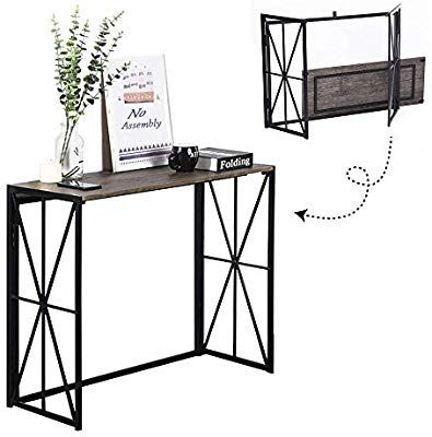Folding Console Table No Assembly Wood Sofa Side Table 8 Seconds