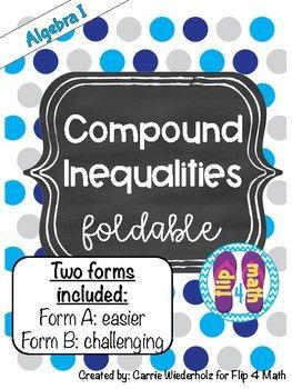 Compound Inequalities Foldable | www flip4math com | Algebra