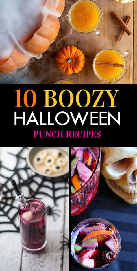 10 Deliciously Boozy Halloween Punch Recipes - Boozy Halloween punch is a must if you're throwing a Halloween party. Here are 10 delicious punch recipes that all your guests will love! Halloween Cocktails, Halloween Desserts, Adult Halloween Drinks, Halloween Dishes, Halloween Food For Party, Halloween Treats, Halloween Movies, Halloween Halloween, Mermaid Halloween Costumes