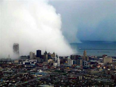 Buffalo and the Great Lake's famous lake effect snow.  This is over downtown Buffalo, where it can be snowing hard in one area and a half a mile away, it can be sunny and nice!