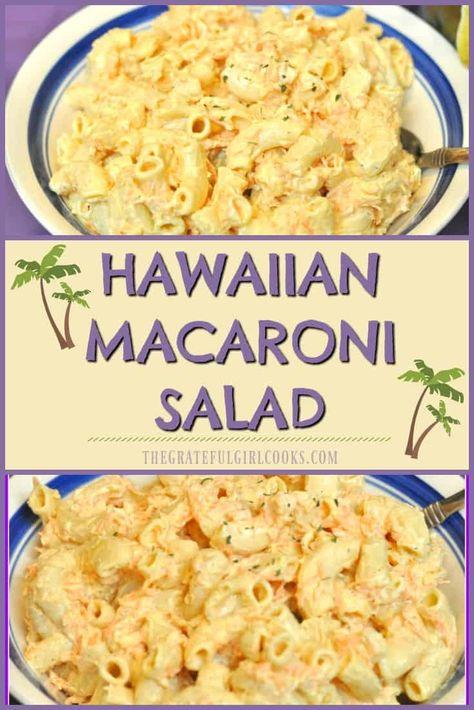 "Hawaiian Macaroni Salad / The Grateful Girl Cooks! This easy to prepare side dish, a delicious, creamy ""Hawaiian-style"" macaroni salad will have you saying ""Aloha!"" via JB @ The Grateful Girl Cooks! Hawaiian Macaroni Salad, Hawaiian Salad, Easy Macaroni Salad, Hawaiian Luau Food, Elbow Macaroni Recipes, Hawaiian Rice, Hawaiian Appetizers, Macaroni Pasta, Al Dente"