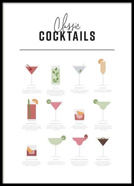Classic Cocktail Guide Affiche Carte Des Boissons Cocktails Classiques Affiches De Cuisine