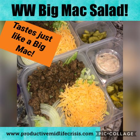 Delicious and tastes just like a Big Mac! Only 6 points on WW Blue Plan! One of the recipes that helped with my 75 pound weight loss! Weight Watchers Snacks, Plan Weight Watchers, Weigh Watchers, Weight Watchers Smart Points, Weight Loss Meal Plan, Ww Recipes, Healthy Recipes, Dinner Recipes, Skinny Recipes