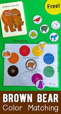 Brown Bear Color Matching Printable for Toddlers FREE printable book activity for toddlers to go along with Eric Carle's Brown Bear book. Great for toddlers and preschoolers who are learning colors and animals! Toddler Learning Activities, Toddler Preschool, Classroom Activities, Brown Bear Activities, Preschool Kindergarten, Bear Activities Preschool, Toddler Color Learning, Preschool Printables, Preschool Art