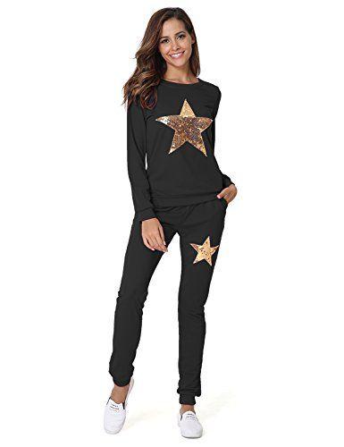 classic fit f7b52 f375e Hownew-X Damen Schlafanzüge mit Sterne Muster Elegant Pyjama ...