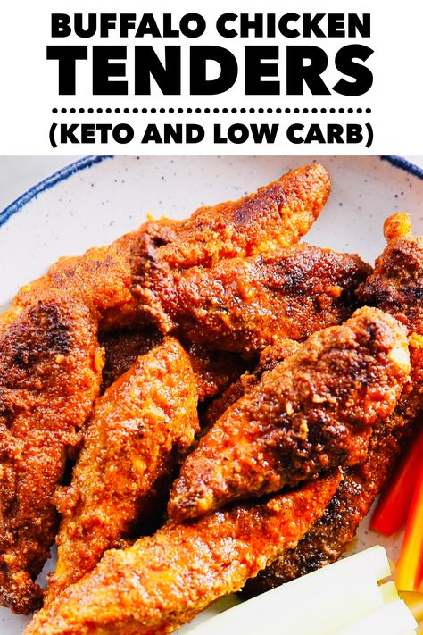 You'll absolutely love these buffalo chicken tenders.  They're crispy, spicy, and keto and low carb diet approved!  #ketorecipes #ketodietrecipes #ketodinner #lowcarbrecipes #lowcarbdinner #healthyrecipes #healthydinner #buffalochicken #chickenfoodrecipes #chickendinner