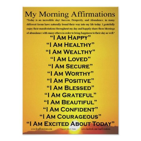 """Discover you power and empower your life! This 20"""" x 16"""" poster is a  way to start your day! What follows your """"I AM's"""" sets the tone and direction for your day and your life. http://www.zazzle.com/my_morning_affirmations_poster_20_x_16_poster-228316148613244718"""