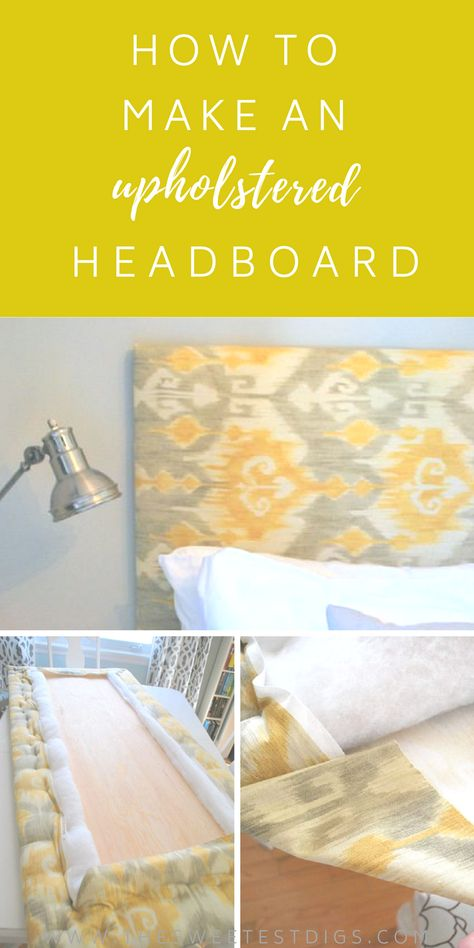How to make a DIY headboard with plywood, batting, fabric, and a staple gun. Super easy tutorial for this upholstered headboard that will make a big impact to your bedroom decor! Headboard The Easy Way To Make An Upholstered DIY Headboard Headboard Art, Headboard Cover, How To Make Headboard, Diy Headboards, Headboard Ideas, Upholstered Headboards, Diy Fabric Headboard, Making A Headboard, Diy Home Decor Bedroom
