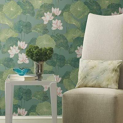 Amazon Com Roommates Blue Green Lily Pad Peel And Stick Wallpaper Home Improvement Aqua Lily Pad Peel And Stick Wallpaper Lily Pads