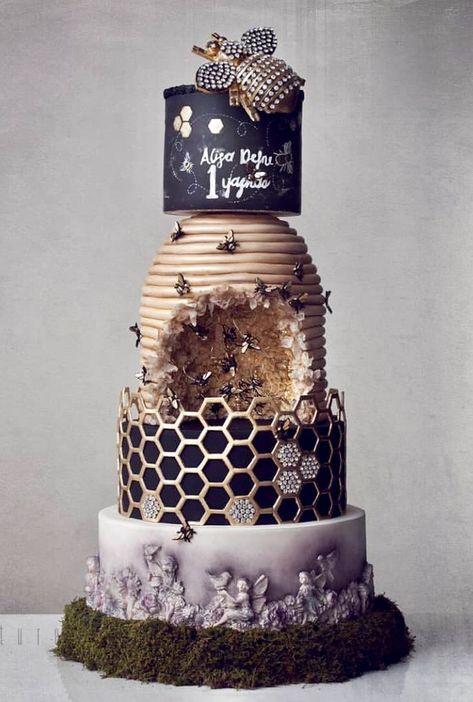 Beehive honeycomb cake - by Kek Couture - Fondant Cakes - Gateau