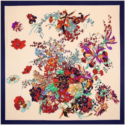 Femme Foulard femme carré floral foulard fleur Châle belles filles
