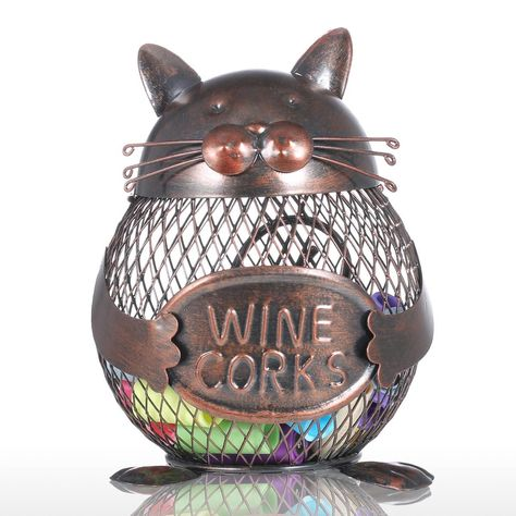 Kitten Wine Cork Container Animal Ornament Creative Ornament Iron Art Practical Crafts Home Decoration Gift