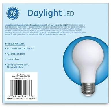 Ge 10 Watt 75 Watt Equivalent A21 Led Dimmable Light Bulb Daylight 5000k Base Smart Light Bulbs Globe Light Bulbs