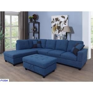 Blue Velve Right Chaise Sectional With Storage Ottoman F122b