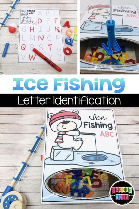 Fish magnetic letters out of the ice fishing hole and mark them on the recording sheet for this winter themed math activity for preschoolers. Great way to incorporate dramatic play into literacy centers! for preschool for toddlers Snow Activities, Winter Activities For Kids, Kindergarten Activities, Preschool Winter, Preschool Classroom Centers, Preschool Activity Sheets, January Preschool Themes, Circle Time Activities, Learning Activities