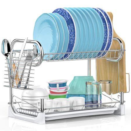 Ispecle 2 Tier Dish Drying Rack Dish Rack Drying Drying Rack Kitchen Dish Racks