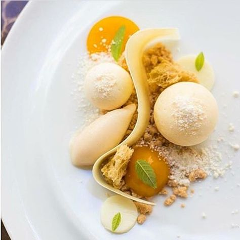 Passionfruit mousse with white chocolate soil, mango caviar with vervain, crispy yogurt sponge, chocolate jelly, turnip sorbet, milk crumble & passionfruit jelly. Incredible dessert uploaded by @angelabaracskay #gastroart