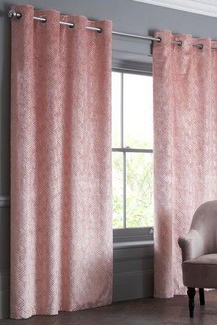 Pink Velvet Metallic Geo Eyelet Curtains Curtains Pink And Grey Curtains Lined Curtains