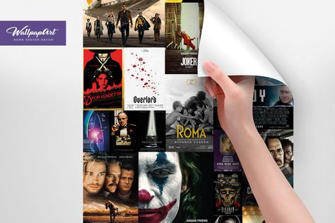Movie Posters Removable Wallpaper, Removable Wall Mural, Peel and Stick Movie Posters, Temporary Collage Wallpaper 123